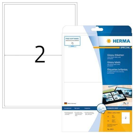 HERMA 4915 Etiketten A4 1996x1435 mm weiß Papier glänzend 50 Stück