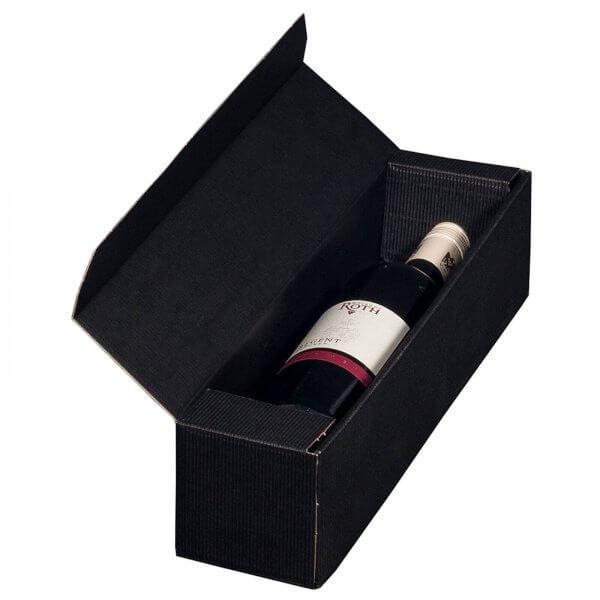 Geschenkkarton für 1 Flasche Wein 92 x 96 x 385 mm Schwarz