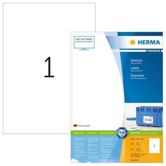 HERMA 4631 Etiketten Premium A4 210x297 mm weiß Papier matt 200 Stück