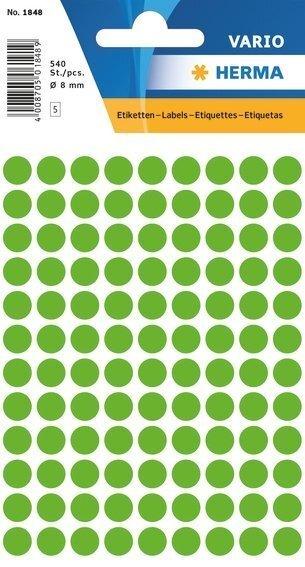 HERMA 1848 Vielzwecketiketten Ø 8 mm rund Papier matt 5400 Stück Leuchtgrün
