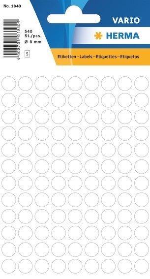HERMA 1840 Vielzwecketiketten Ø 8 mm rund Papier matt 5400 Stück Weiß