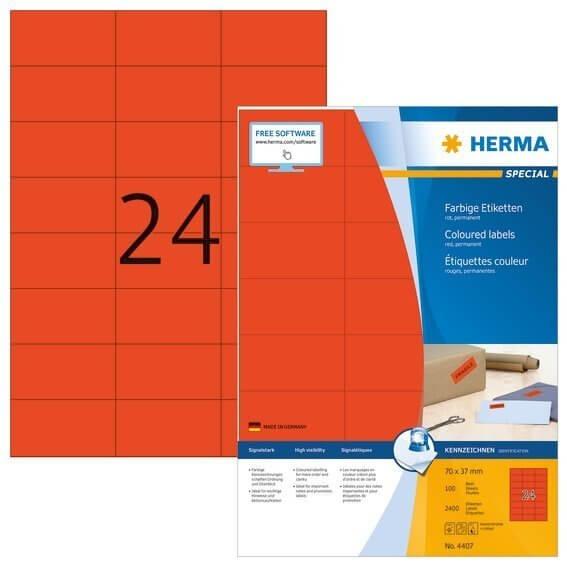 HERMA 4407 Farbige Etiketten A4 70x37 mm rot Papier matt 2400 Stück