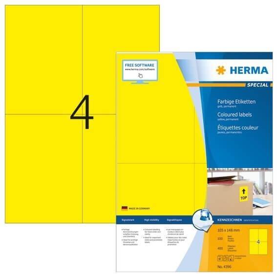 HERMA 4396 Farbige Etiketten A4 105x148 mm gelb Papier matt 400 Stück