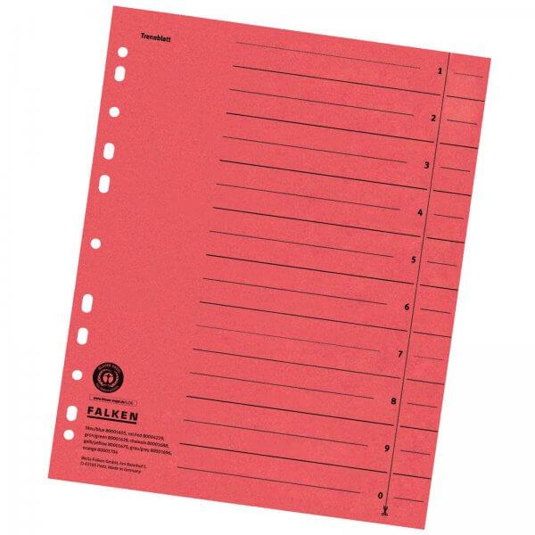 Trennblätter DIN A4 aus Manilakarton 230 g/m² Rot