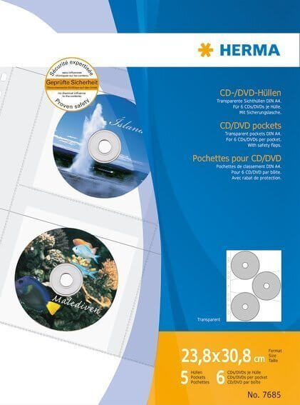 HERMA 7685 CD/DVD-Hüllen 3065x233 mm 5 Hüllen