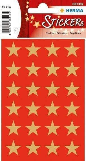 HERMA 3413 10x Sticker DECOR Sterne 5-Zackig gold Ø 15 mm