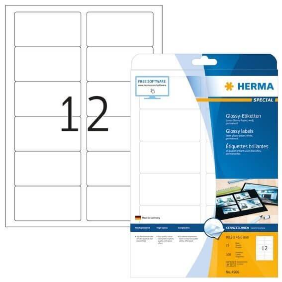 HERMA 4906 Etiketten A4 889x466 mm weiß Papier glänzend 300 Stück