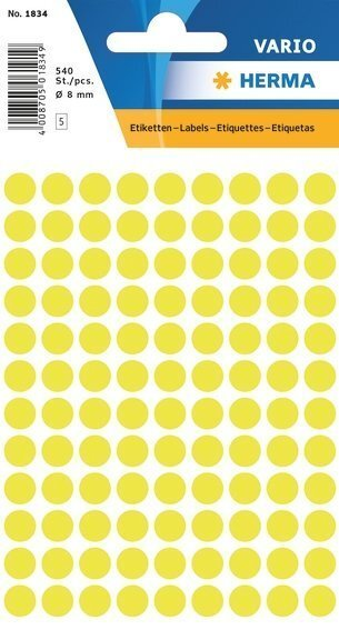 HERMA 1834 Vielzwecketiketten Ø 8 mm rund Papier matt 5400 Stück Leuchtgelb