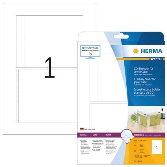 HERMA 5036 CD-Einleger für Jewelcase A4 151x118 mm weiß Karton perforiert nicht klebend 25 Stück