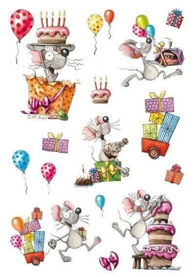 HERMA 3713 10x Sticker MAGIC Happy Birthday Maus Glitterfolie