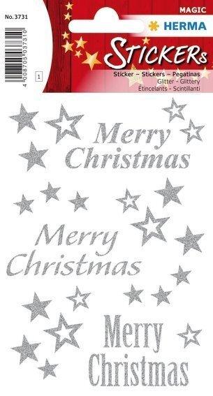 HERMA 3731 10x Sticker MAGIC Merry Christmas glittery