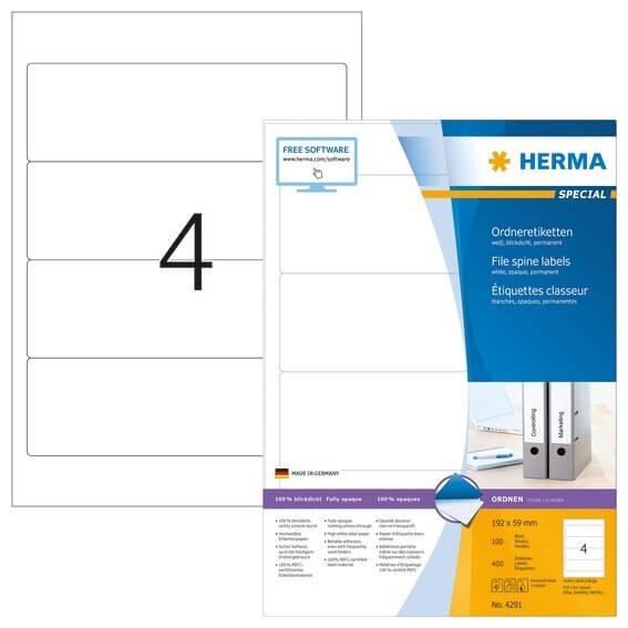 HERMA 4291 Ordneretiketten A4 192x59 mm weiß Papier matt blickdicht 400 Stück