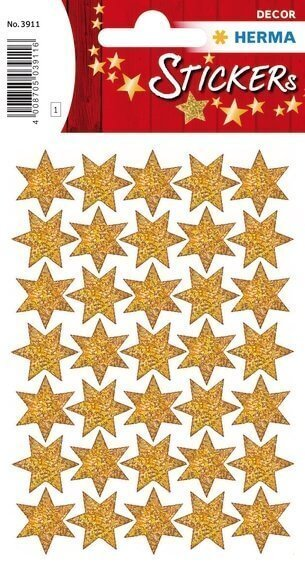 HERMA 3911 10x Sticker DECOR Sterne 6-zackig gold beglimmert Ø 16 mm