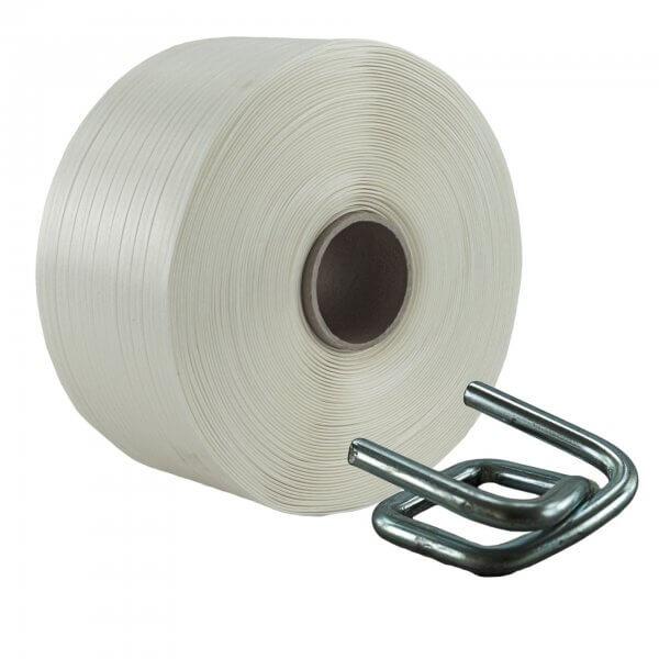 Umreifungsset 13 mm Textil Metallklemmen verzinkt