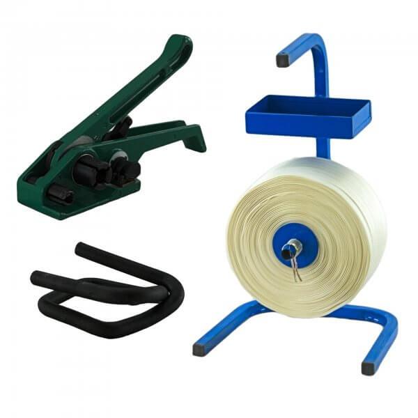 Umreifungsset 19 mm Textil gewebt HD Abroller Bandspanner Metallklemmen phosphatiert