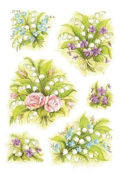 HERMA 3377 10x Sticker DECOR Blumensträuße Maiglöckchen