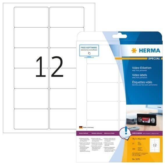 HERMA 5070 Video-Etiketten A4 787x466 mm weiß Papier matt 300 Stück