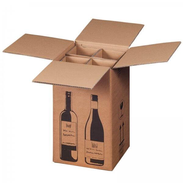Flaschenkarton für 4 Flaschen mit PTZ-Zulassung (DHL/UPS), 212 x 204 x 368 mm