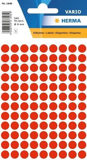 HERMA 1846 Vielzwecketiketten Ø 8 mm rund Papier matt 5400 Stück Leuchtrot