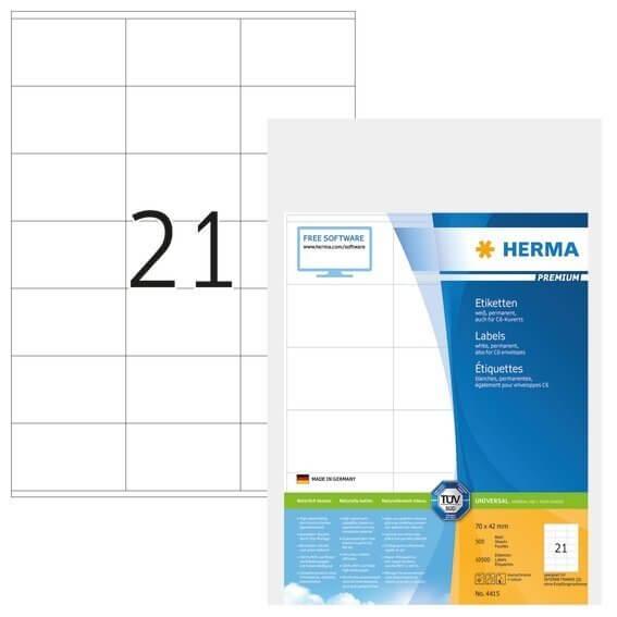HERMA 4415 Etiketten Premium A4 70x42 mm weiß Papier matt 10500 Stück