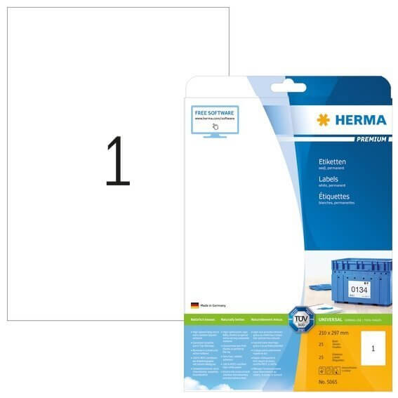 HERMA 5065 Etiketten Premium A4 210x297 mm weiß Papier matt 25 Stück