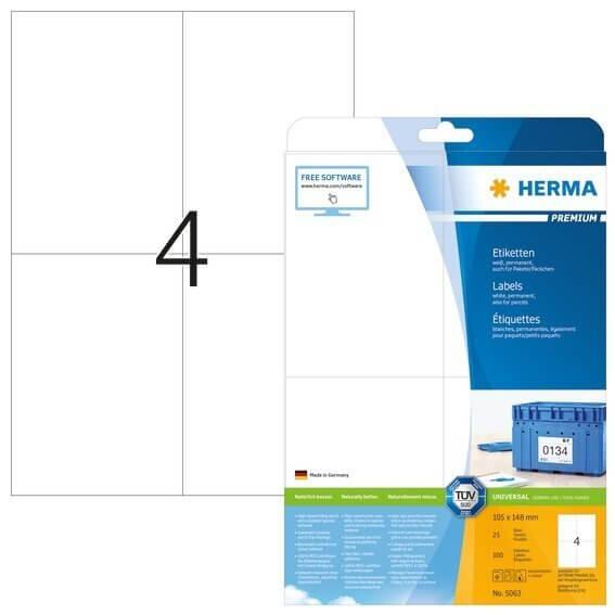 HERMA 5063 Etiketten Premium A4 105x148 mm weiß Papier matt 100 Stück
