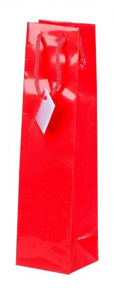 Geschenk-Flaschentasche für 1 Weinflasche Rot Hochglanz