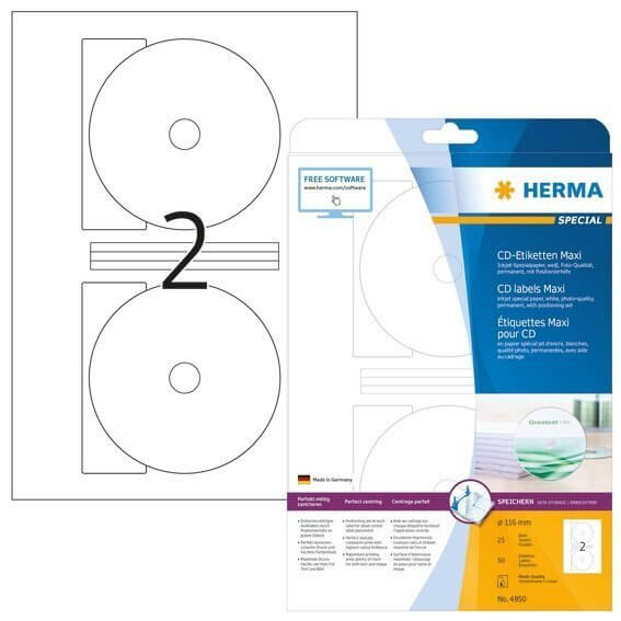 HERMA 4850 Inkjet CD-Etiketten Maxi A4 Ø 116 mm weiß Papier matt 50 Stück