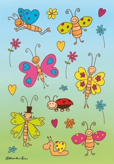 HERMA 3303 10x Sticker DECOR Lustige Schmetterlinge