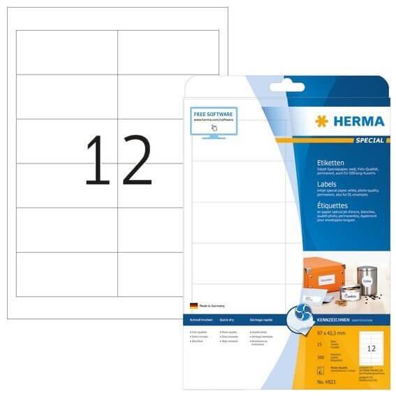 HERMA 4823 Inkjet-Etiketten A4 97x423 mm weiß Papier matt 300 Stück