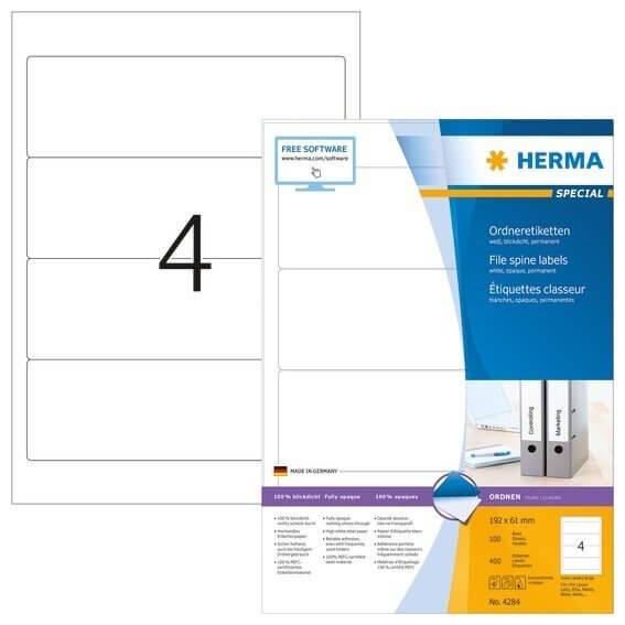 HERMA 4284 Ordneretiketten A4 192x61 mm weiß Papier matt blickdicht 400 Stück