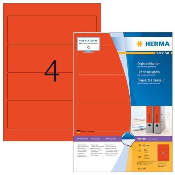 HERMA 4297 Ordneretiketten A4 192x61 mm rot Papier matt blickdicht 400 Stück