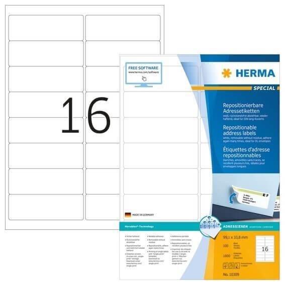 HERMA 10309 Repositionierbare Adressetiketten A4 991x338 mm weiß Movables Papier matt 1600 Stück