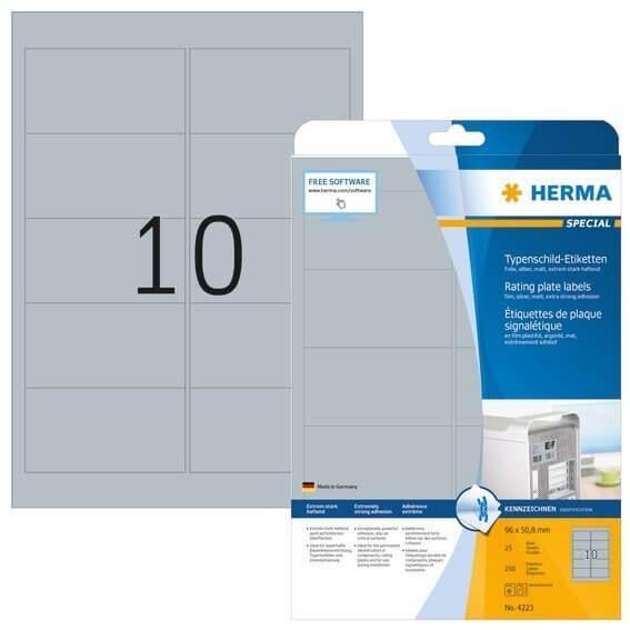 HERMA 4223 Typenschildetiketten A4 96x50,8 mm silber extrem stark haftend Folie matt 250 Stück