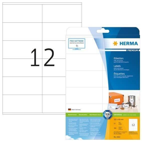 HERMA 4363 Etiketten Premium A4 105x48 mm weiß Papier matt 300 Stück