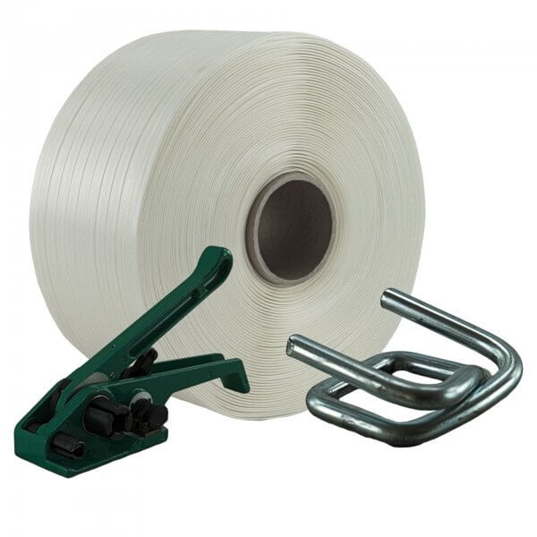 Umreifungsset 19 mm 400 m Textil Bandspanner Metallklemmen verzinkt