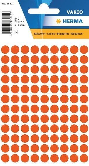 HERMA 1842 Vielzwecketiketten Ø 8 mm rund Papier matt 5400 Stück Rot