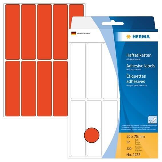 HERMA 2422 Vielzwecketiketten 20 x 75 mm Papier matt Handbeschriftung 320 Stück Rot