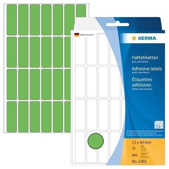 HERMA 2365 Vielzwecketiketten 13 x 40 mm Papier matt Handbeschriftung 896 Stück Grün