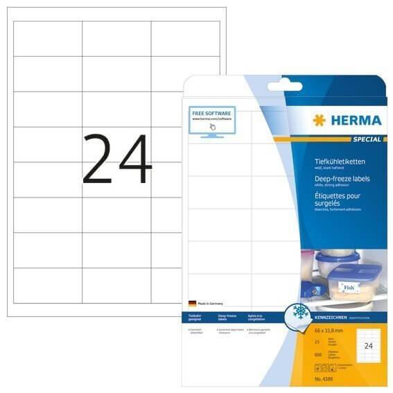 HERMA 4389 Tiefkühletiketten A4 66x338 mm weiß Papier matt 600 Stück