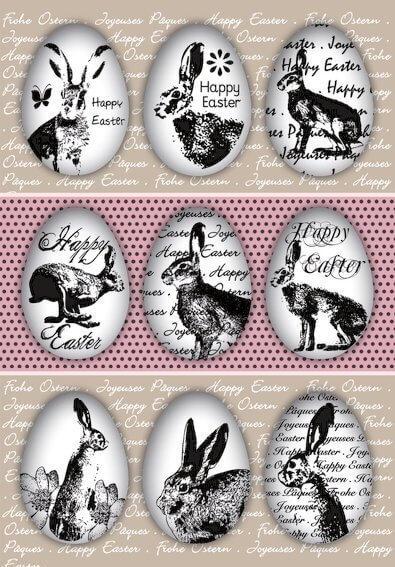 HERMA 1723 10 x Sticker DECOR Happy Easter Eierhasen