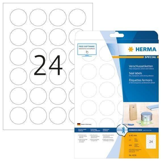 HERMA 4236 Verschlussetiketten A4 transparent Ø 40 mm rund extrem stark haftend Folie matt 600 Stück
