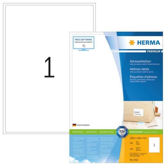 HERMA 4252 Adressetiketten Premium A4 1996x2891 mm weiß Papier matt 100 Stück