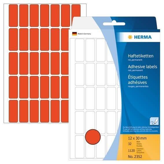 HERMA 2352 Vielzwecketiketten 12 x 30 mm Papier matt Handbeschriftung 1120 Stück Rot