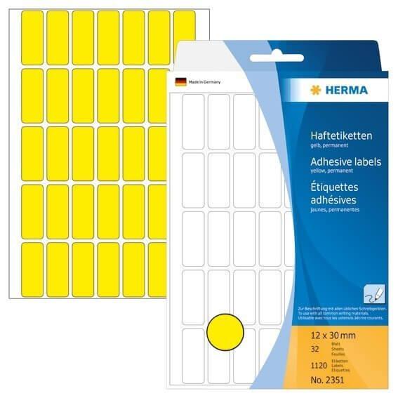 HERMA 2351 Vielzwecketiketten 12 x 30 mm Papier matt Handbeschriftung 1120 Stück Weiß