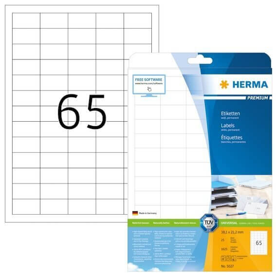 HERMA 5027 Etiketten Premium A4 381x212 mm weiß Papier matt 1625 Stück