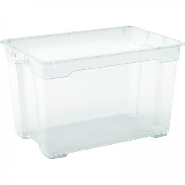 Aufbewahrungsbox mit Rollen 57 Liter Transparent