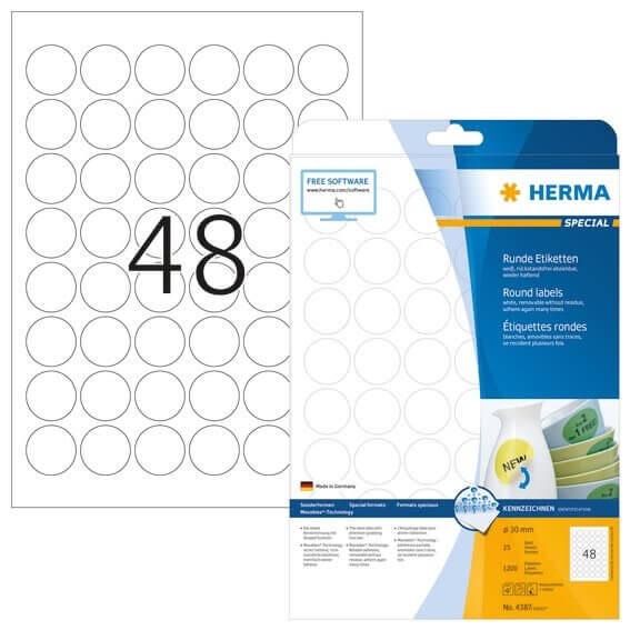 HERMA 4387 Ablösbare Etiketten A4 Ø 30 mm rund weiß Movables/ablösbar Papier matt 1200 Stück