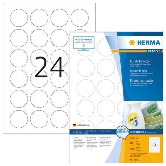 HERMA 4476 Ablösbare Etiketten A4 Ø 40 mm rund weiß Movables/ablösbar Papier matt 2400 Stück