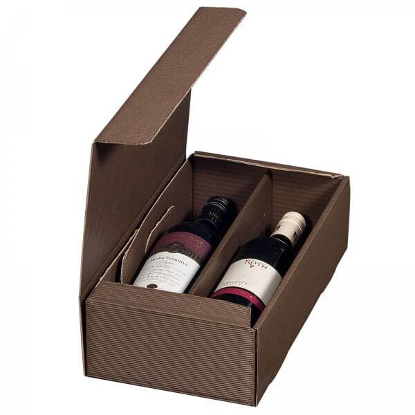 Geschenkkarton für 2 Flaschen Wein 192 x 95 x 360 mm Braun